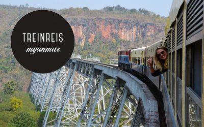 Treinreis over de Gokteik brug in Myanmar